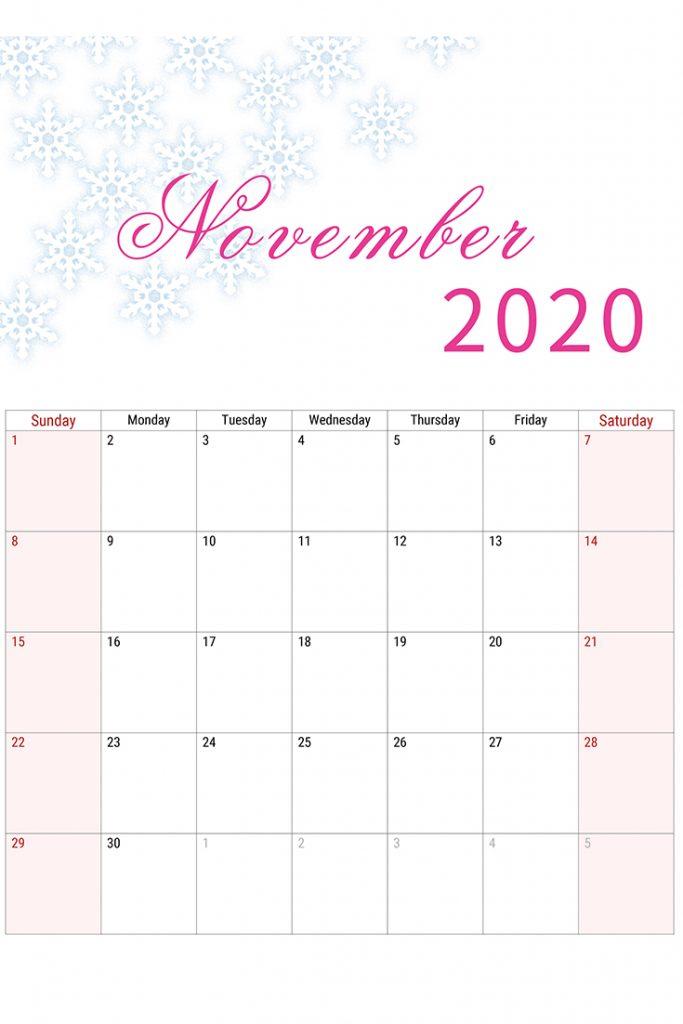 free printable november calendar template