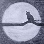 How to draw a night Scenery and a cat step by step