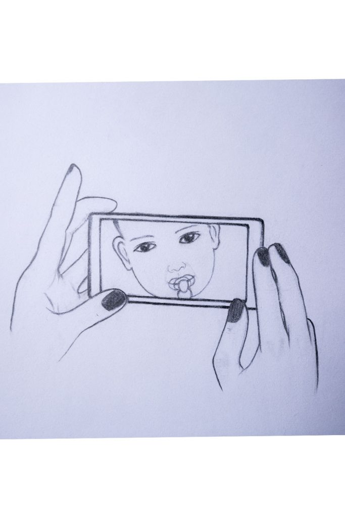 How to draw holding a mobile phone