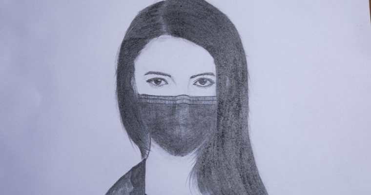 How to draw a girl wearing a mask for beginners