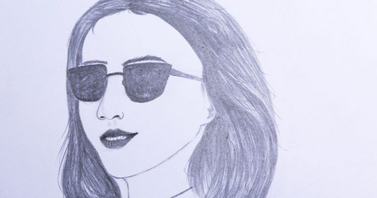 How to draw a girl wearing sunglasses