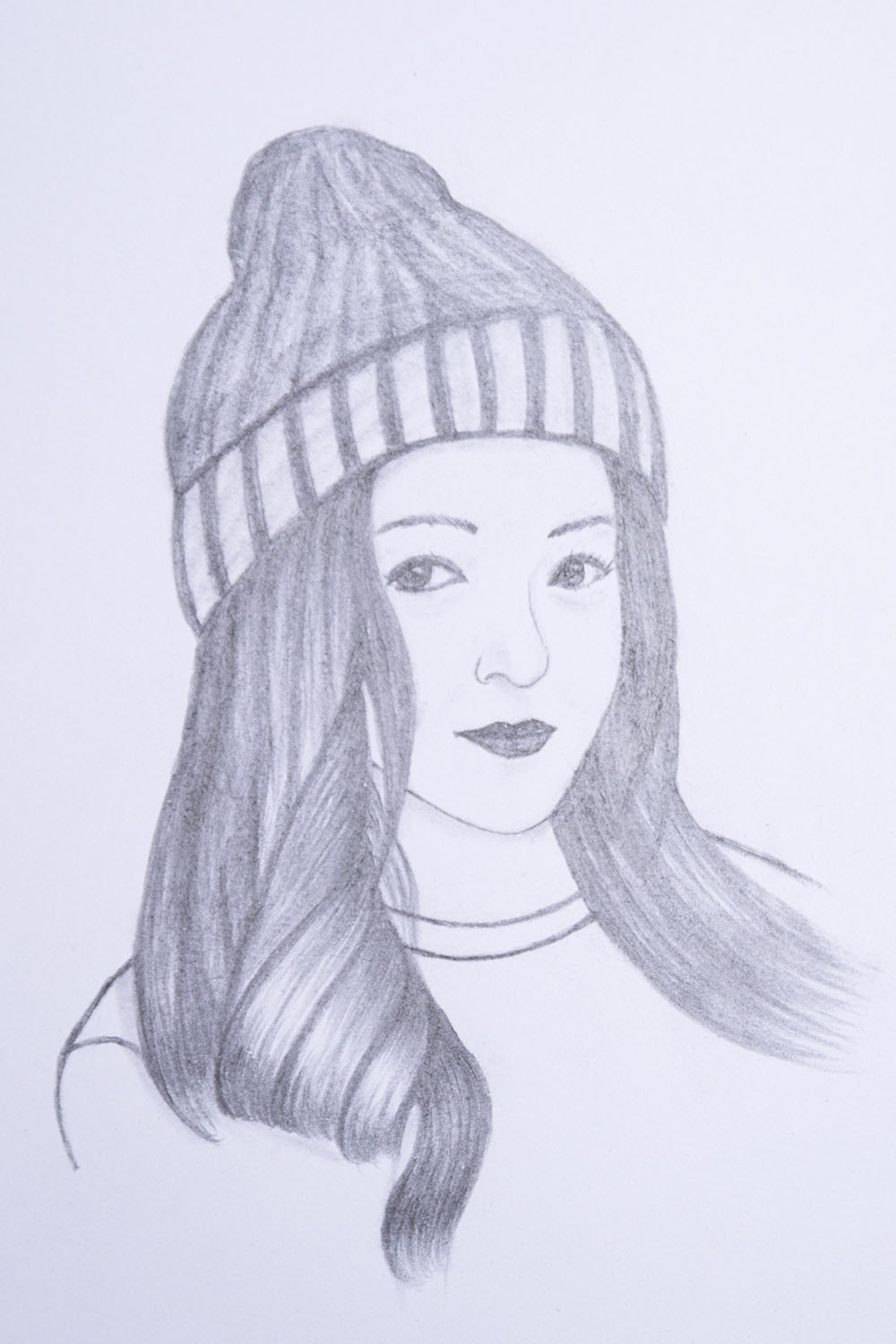 How to draw a girl wearing winter cap