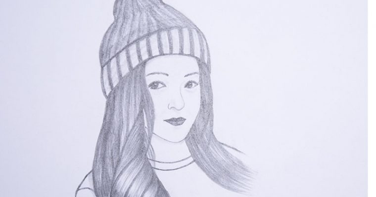 How to draw a girl wearing winter cap step by step