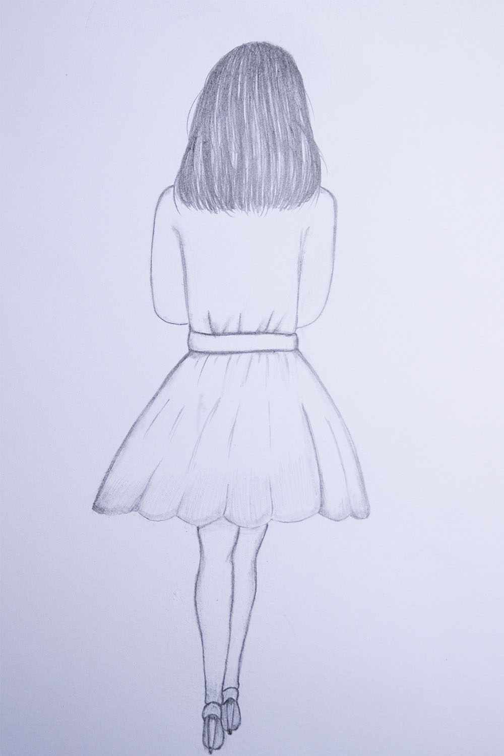 how to draw a girl in a dress easy step by step