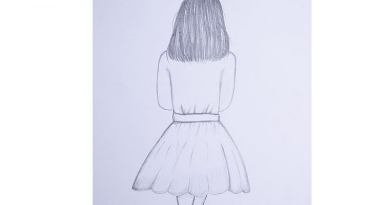 how to draw a girl in a dress easy