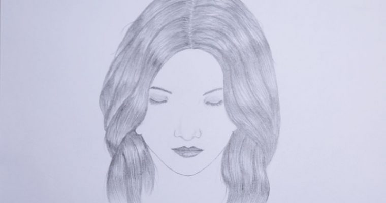 how to draw a girl with closed eyes