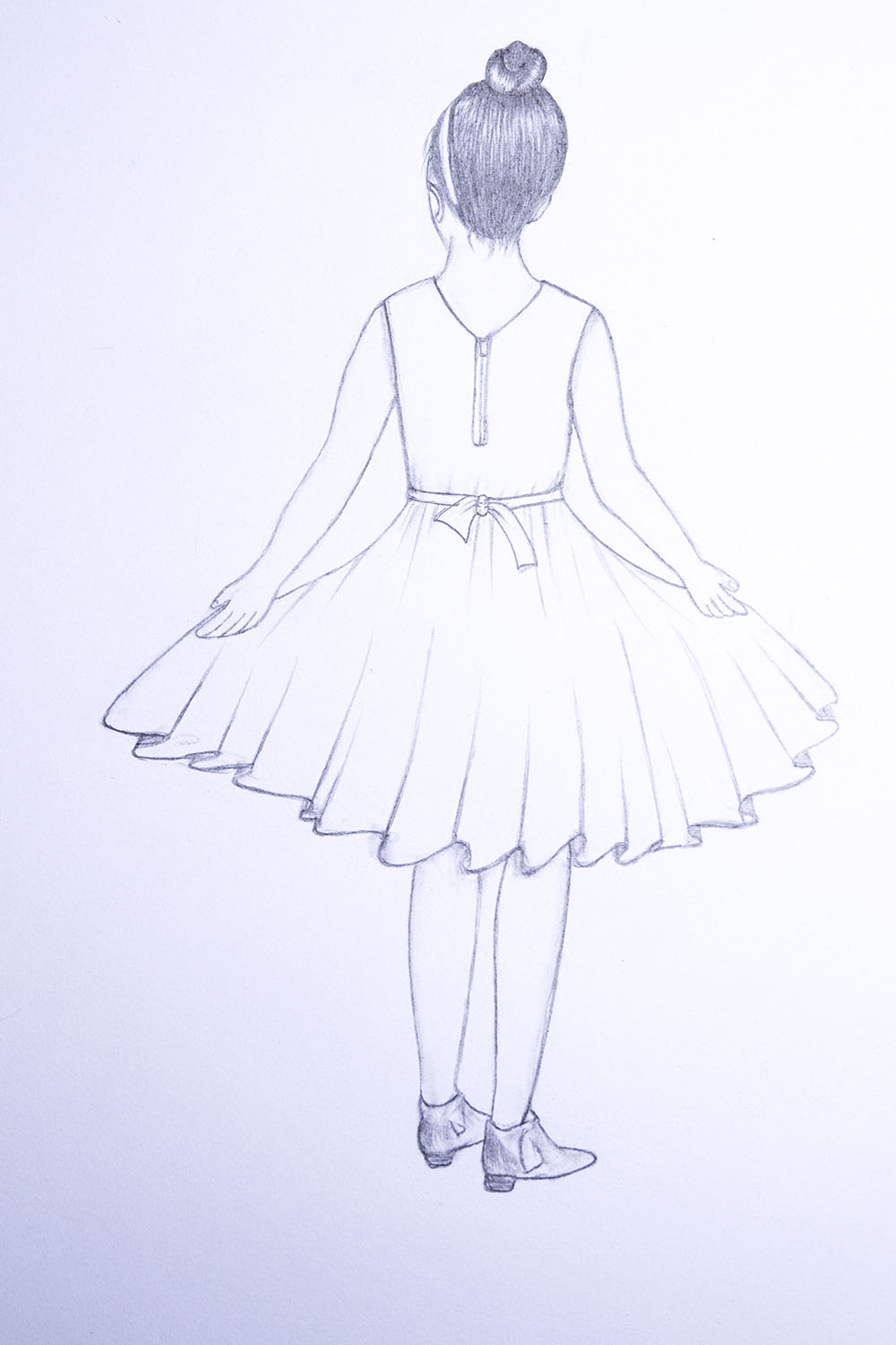 how to draw a girl with dress step by step