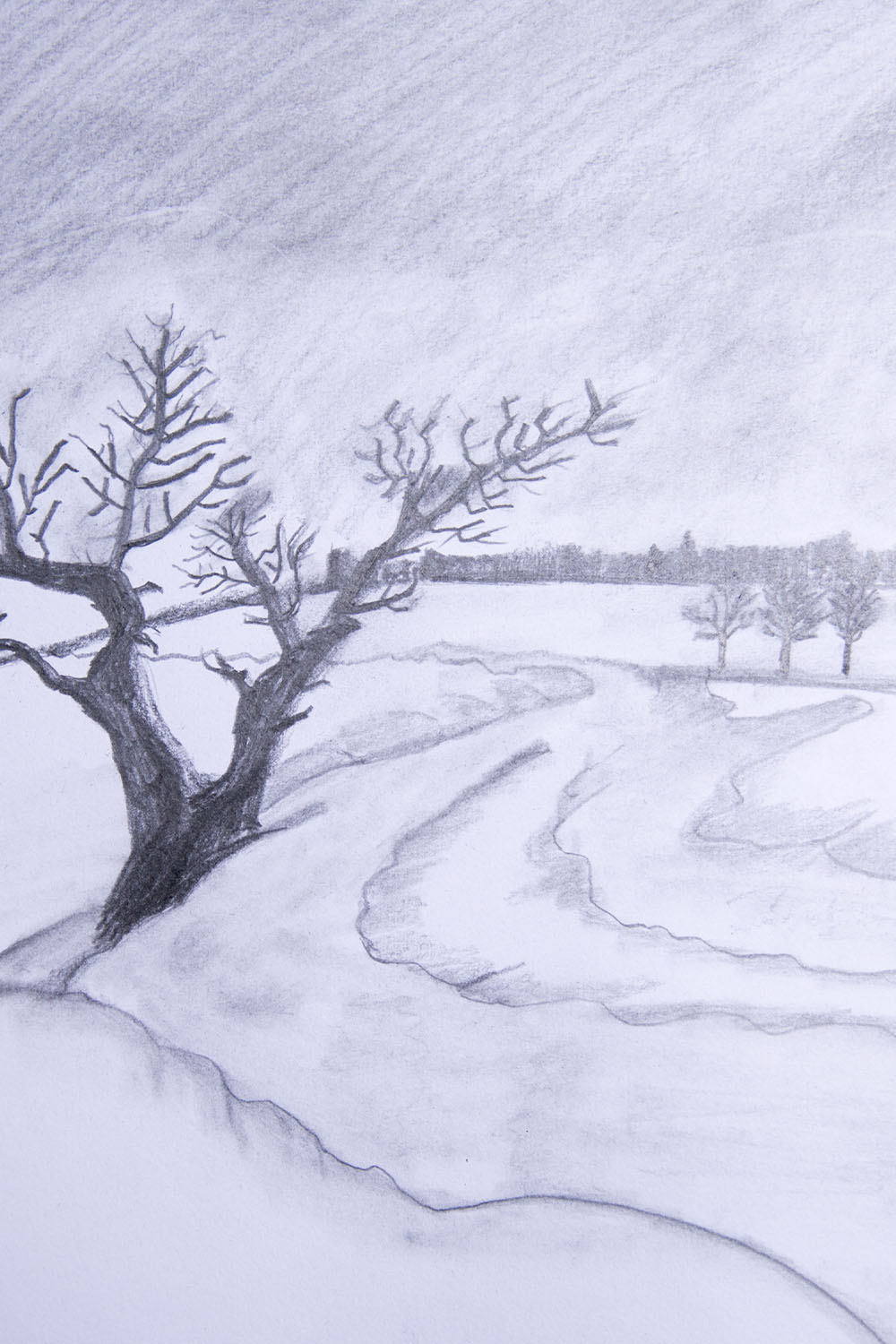 how to draw a winter landscape step by step