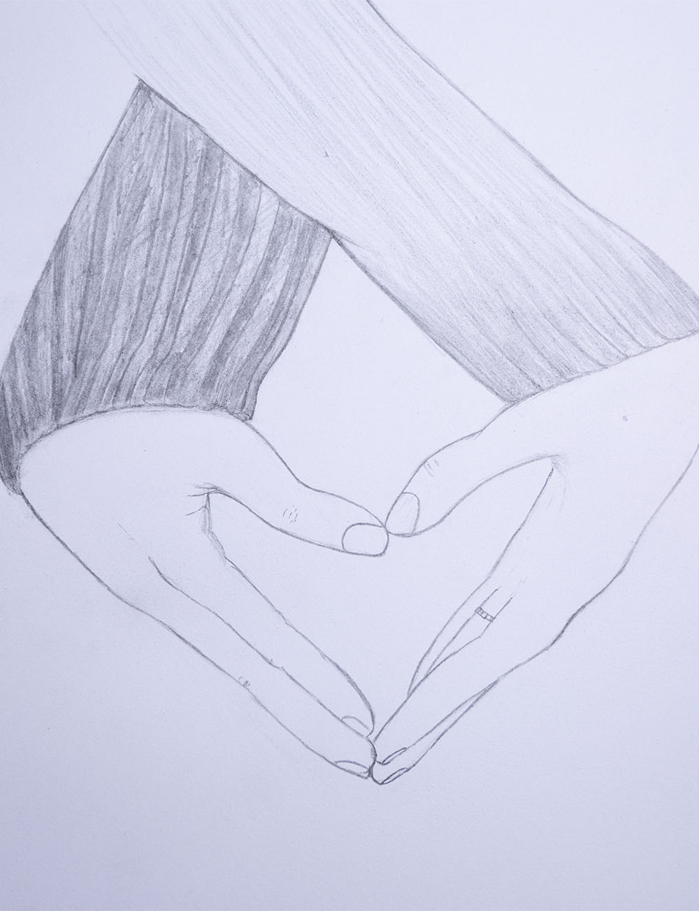 how to draw love heart hands