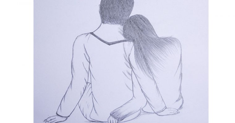 draw couple leaning on shoulder