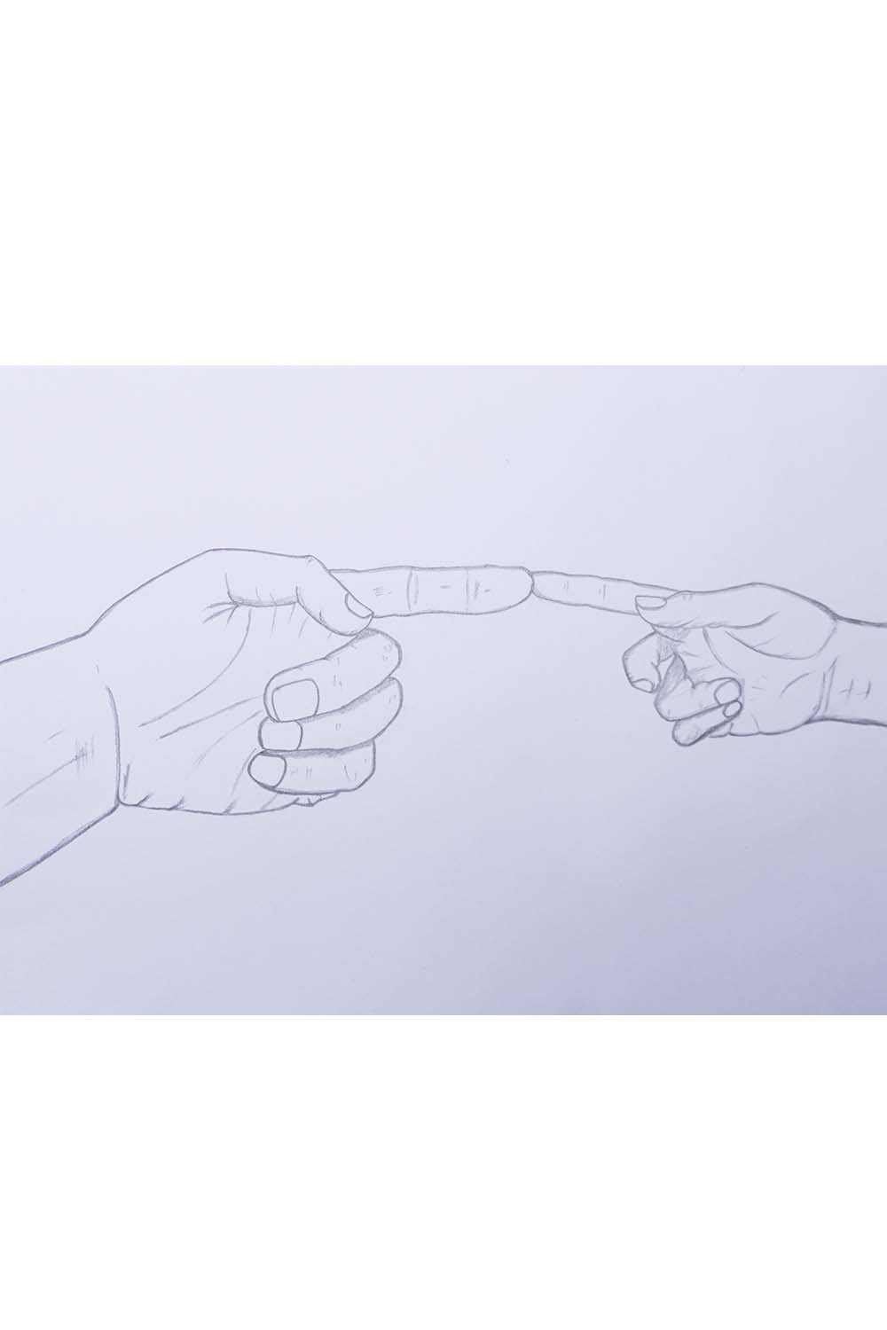 hands touching hands drawing For beginners