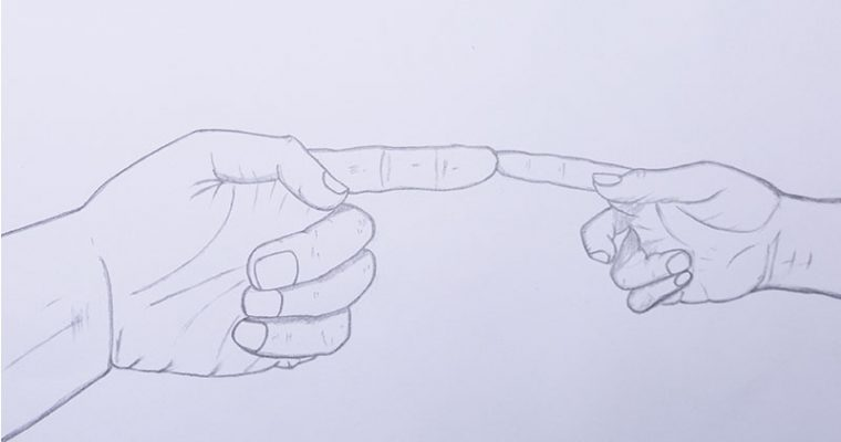 hands touching hands drawing