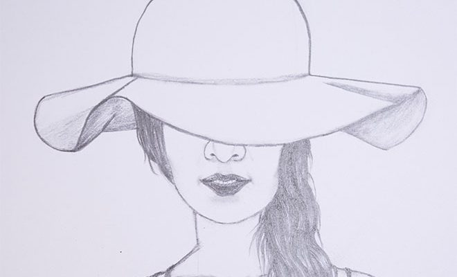 how to draw a girl in a hat for beginners