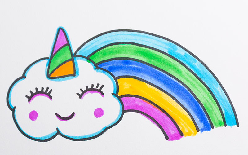 Draw Unicorn Clouds for Kids