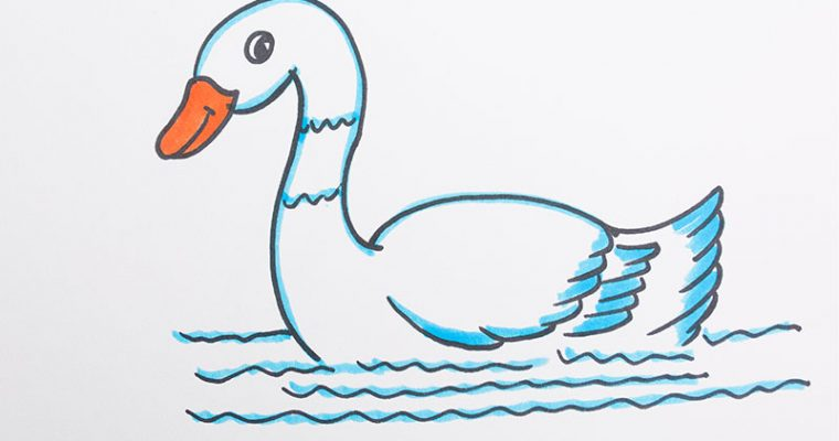 Drawing goose for kids