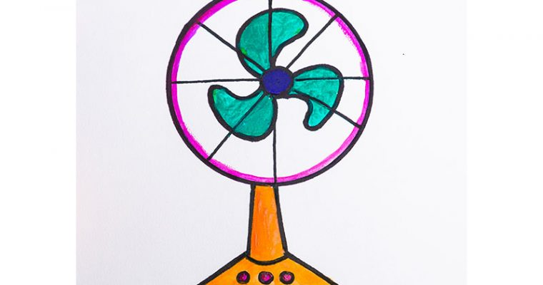 How to draw an electric fan